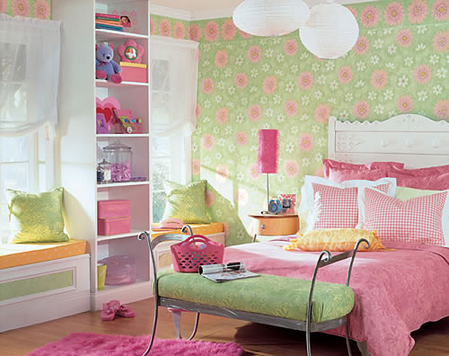 Pink and green girls bedroom