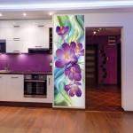Нежные фотообои с цветами для кухни