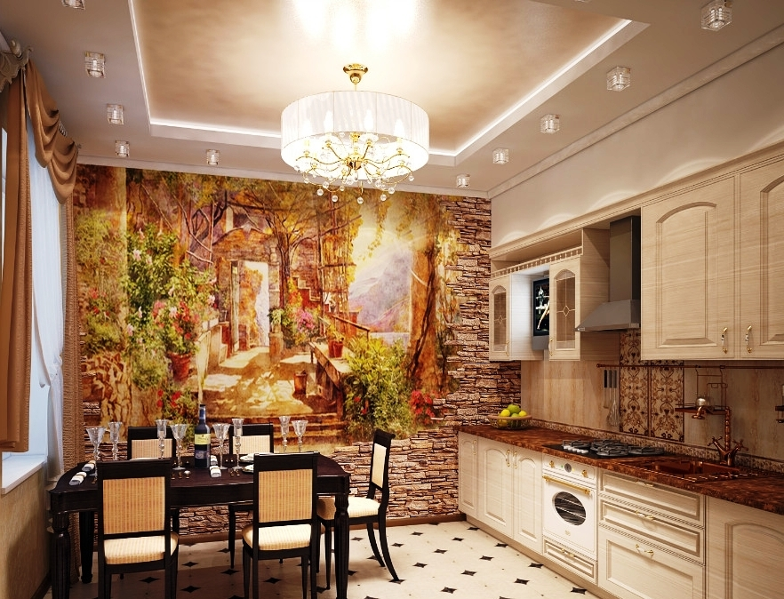 Варианты отделки стен кухни фото
