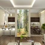 Фотообои лес для интерьера кухни