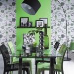 Оформление зеленой кухни с фотообоями
