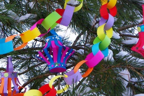 Своими руками игрушки на елку из цветной бумаги
