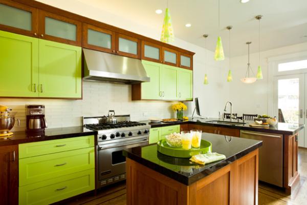 Фото салатовых кухонь