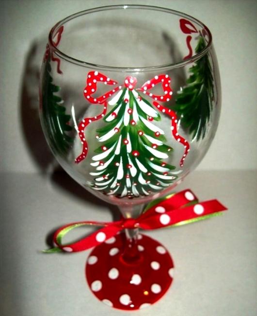 Украшение новогоднее бокалов своими руками