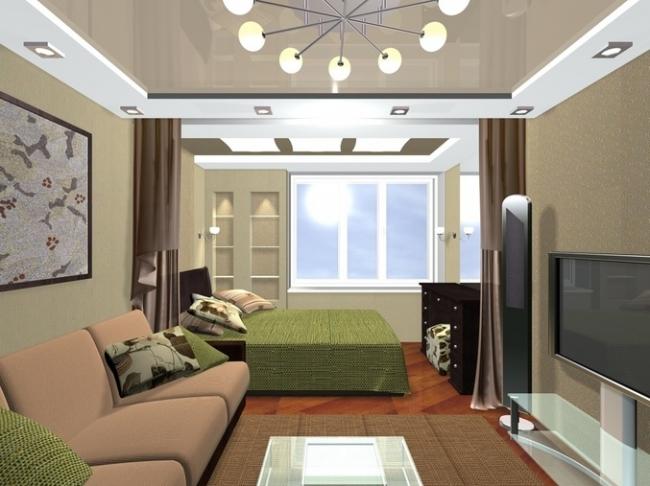 Дизайн зала-спальни в квартире 18 кв.м