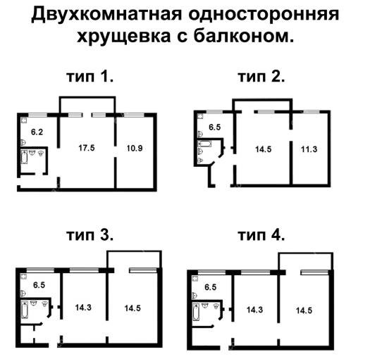 Какой стандартный размер площади у балконов кирпичных хрущевок серии 1-511.