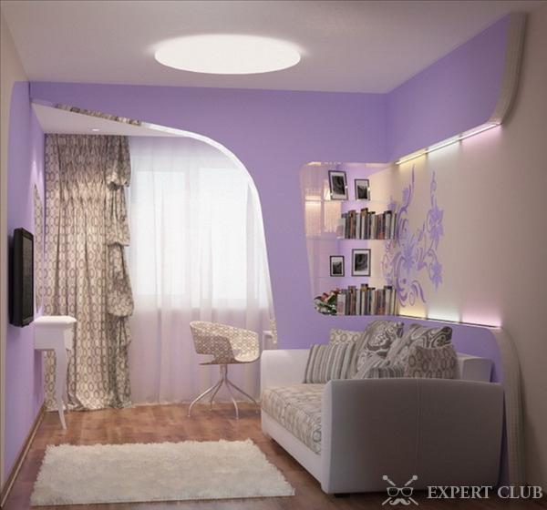Дизайн комнаты с кроватью и диваном фото