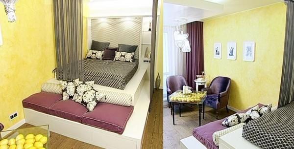 Дизайн гостиной 17 кв м с кроватью