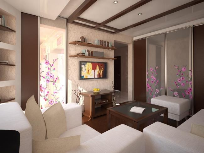 дизайн интерьера маленькой гостиной совмещенной с кухней в