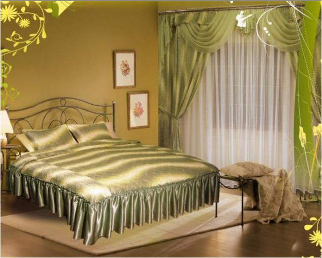 шторы и покрывало для спальни в комплекте