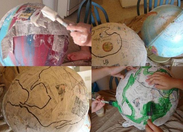 Глобус из папье маше своими руками пошагово в картинках