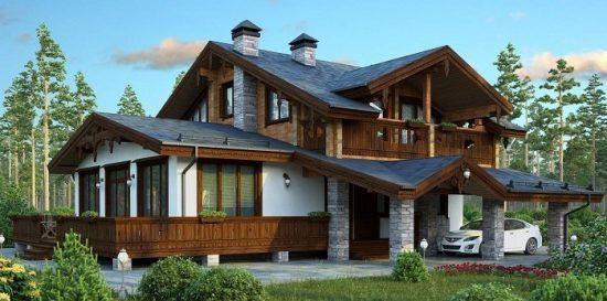 дом шале комбинированный